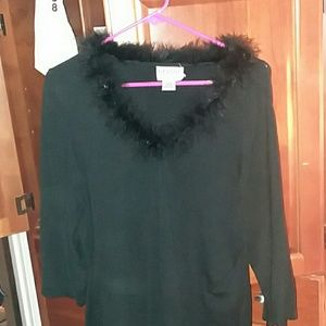 Woman long sleeve Black Sweater top w/ feathers .